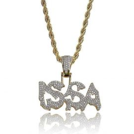 Iced ISSA Pendant in Gold