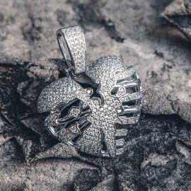Broken Skeleton Heart Pendant in White Gold
