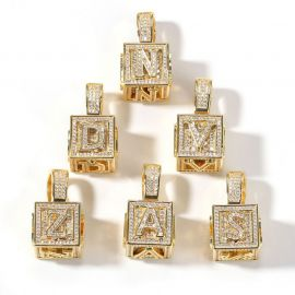 Iced Cube A to Z Letter Pendant in Gold