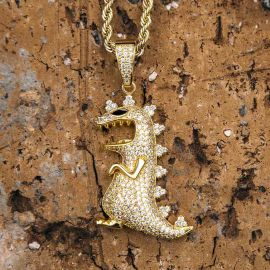 Iced Dinosaur Pendant in Gold
