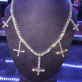 5mm Upside Down Cross Tennis Necklace in 18K White Gold