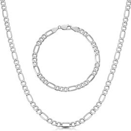 5mm Stainless Steel Figaro Chain Set