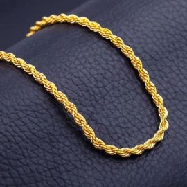 6mm 18K Gold Finish Rope Chain