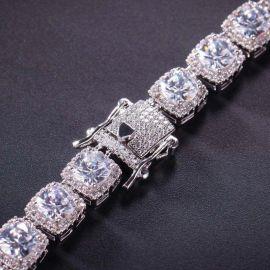 10mm Iced Baguette Tennis Bracelet in White Gold