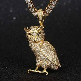 Iced Walking Owl Pendant in Gold