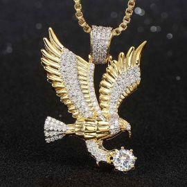 Iced Flying Eagle Pendant