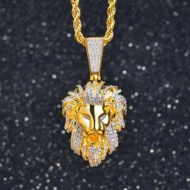 Iced Roaring lion Pendant in Gold