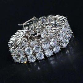 10mm 18K White Gold Finish Double Row Tennis Bracelet