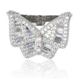 Baguette Butterfly Micro Pave Ring