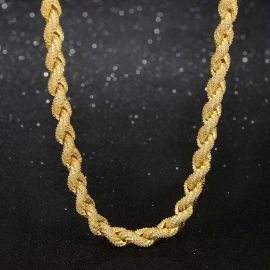 8mm 18K Gold Iced Rope Chain