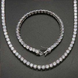 5mm 18K White Gold Single Row Tennis Chain and Bracelet Set