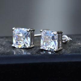 Radiant Cut Stud Earring in White Gold