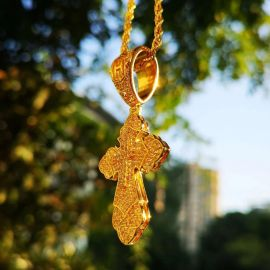 Iced Christian Cross Pendant in Gold