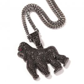 Iced Gorilla Iced Pendant in Black Gold