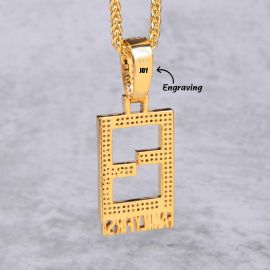 Iced Family First Pendant in Gold