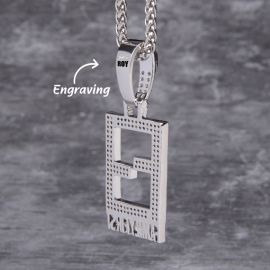 Iced Family First Pendant in White Gold