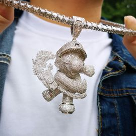 Iced Super Jumpman Pendant in White Gold