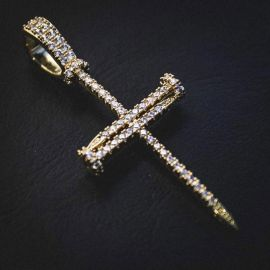 Iced Nail Cross Pendant in Gold
