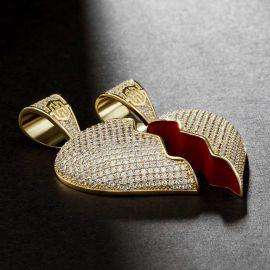 2pc Broken Heart Pendant in Gold