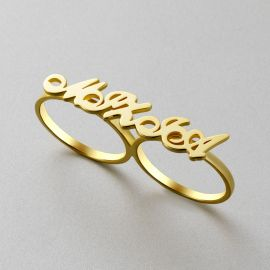Personalized Two Finger Name Rings