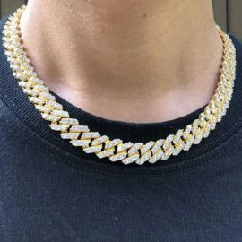 14mm 18K Gold Finish Iced Miami Cuban Link Chain
