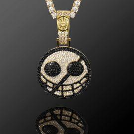 Iced One-eyed Skull Pendant in White Gold