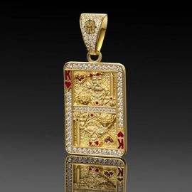 Iced King of Red Heart Poker Card Pendant in Gold
