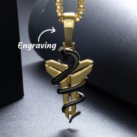 Iced Snake with Sheath Memorial Pendant in Gold