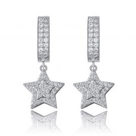 Iced Five-pointed Star Dangle Earrings