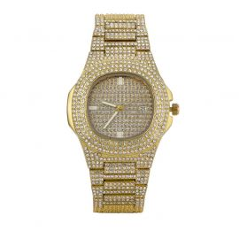 Pave Iced Rounded Square Fashion Men's Watch in Gold
