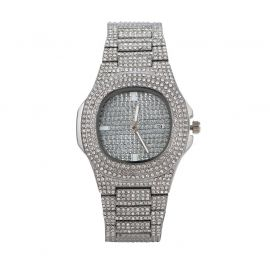 Pave Iced Rounded Square Fashion Men's Watch in White Gold