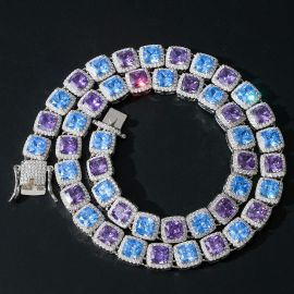 Blue and Purple Stones Clustered Tennis Necklace in White Gold