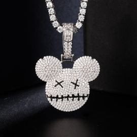 Iced Cartoon Mouse Pendant in White Gold