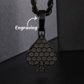 Iced Ace of Spades Pendant in Black Gold