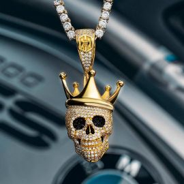 Iced Skull with King Crown Pendant in Gold