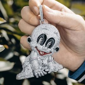 Iced Baby Pendant in White Gold