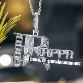 Iced Popular Records Pendant in White Gold
