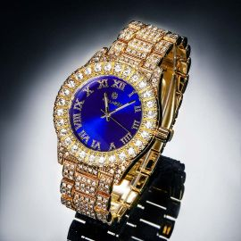 Iced Roman Numerals Blue Dial Men's Watch in Gold