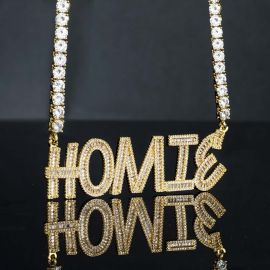 """Iced Custom Baguette Letters Pendant with 5mm 22"""" Tennis Chain"""