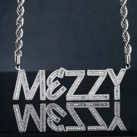 """Iced Custom Baguette Letters Pendant with 5mm 24"""" Rope Chain"""