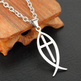 Stainless Steel Ichthus Cross Pendant