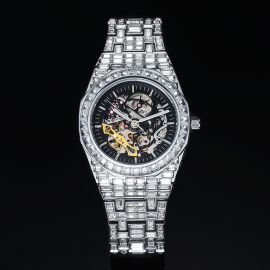 Iced Men's Mechanical Watch with Baguette Stones in White Gold