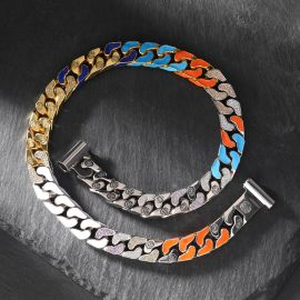 13mm Multi-color Logo Half-Iced Cuban Link Chain