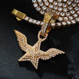 Iced 5-Pointed Star with Angel Wings Pendant in Gold