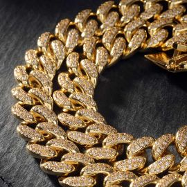 13mm 18K Gold PVD Plated Finish Iced Cuban Link