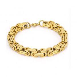 8mm Titanium Steel Byzantine Bracelet in Gold
