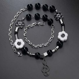 Black Smile Face Charms with Musical Note Necklace