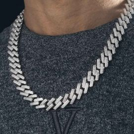 Iced 14mm Miami Cuban Chain with Box Clasp in White Gold