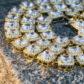 10mm Iced Baguette Chain Set in Gold
