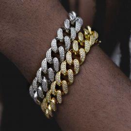 13mm 18K Gold Finish Iced Cuban Bracelet